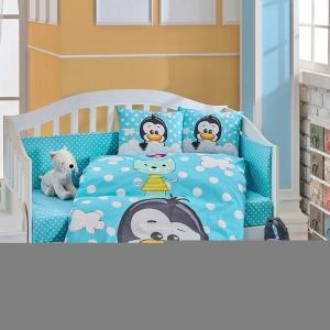 Hobby Ranforce Bebek Nevresim Takımı Penguin Mavi