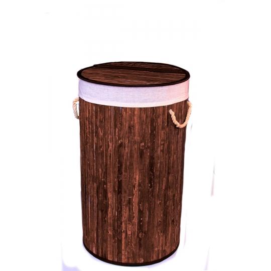 Gold Case Bambu Çamaşır Sepeti Yuvarlak Kahve Eskitme