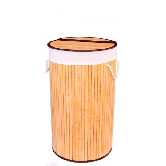 Gold Case Bambu Çamaşır Sepeti Yuvarlak Naturel
