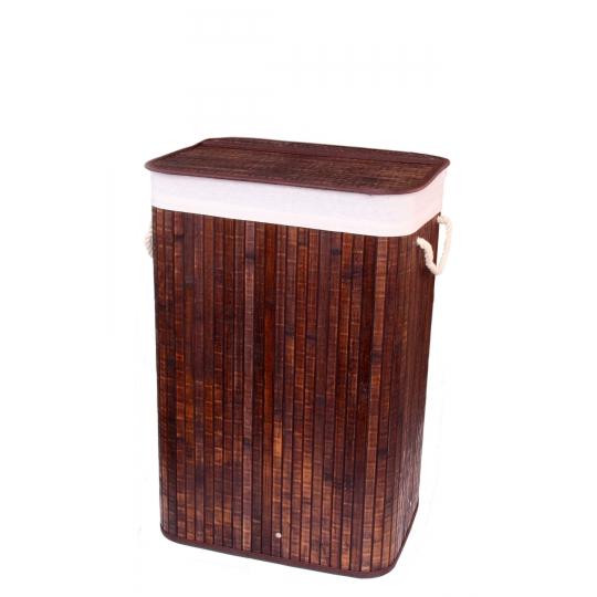 Gold Case Bambu Çamaşır Sepeti Dörtgen Kahve Eskitme